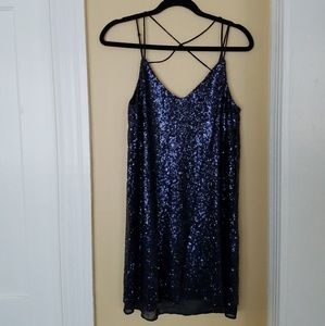 Strappy Blue Sequin Dress